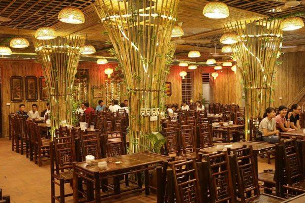 nội thất nhà hàng bằng tre