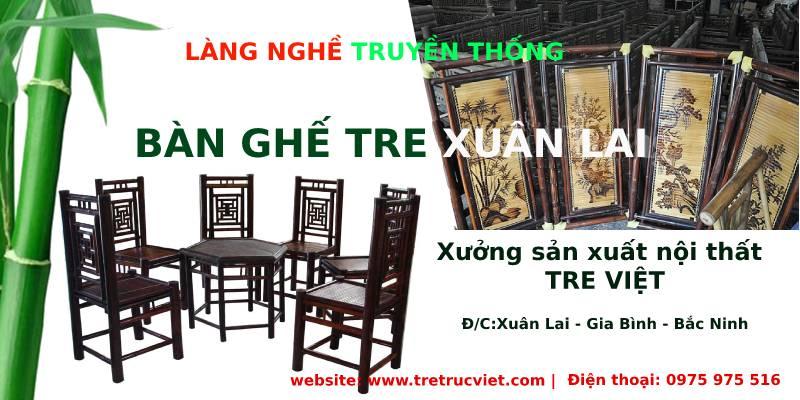 xưởng sản xuất bàn ghế tre